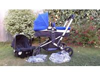 Mothercare xpedia blue travel system buggy, carry cot & car seat