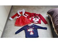 Girls Christmas Outfits x1 Mrs Christmas Outfit x2 Reindeer jumper/top