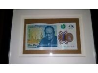 AA Collectors Mounted - Rare First Batch Five Pound Note - Christmas Gift/Present