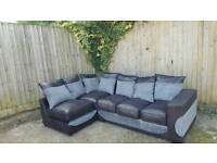 Great Brand New black chenille and grey fabric corner sofa.can deliver