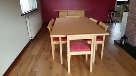 Habitat dining table, 6 chairs and sideboard. Good condition.