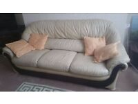 Three piece suite with three seater sofa and two armchairs - excellent condition
