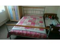 Double bed frame with memory foam mattress