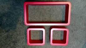 Red cube shelves