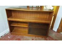 Large Book Shelf / Display Cabinet With Tinted Glass Sliding Doors In Great Condition