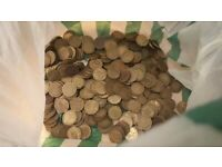 Bag of old 3p coins mostly from 30s to 60s