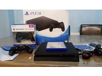 PS4 SLIM IN ORIGINAL BOX WITH 2 CONTROLLERS AND FIFA 17