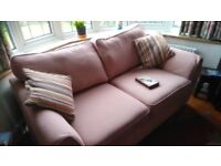 Sofa and Ottoman in hessian style fabric
