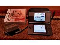 BLACK NINTENDO DS WITH NINTENDOGS GAME, BLACK ZIP CASE & CHARGER