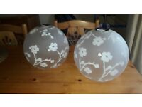 Two glass etched ceiling light shades white flower design