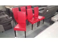 BRAND NEW 6 RED ARINA FAUX LEATHER DINING CHAIRS **CAN DELIVER**