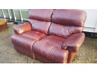 Two and three leather sofa recliner