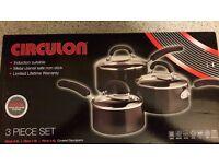 CIRCULON 3 piece set induction saucepan set - NEW
