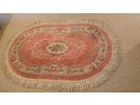 Chinese Rug 100% wool Pink patterned Oval shape 60 inches x 37 inches (152cm x 94cm)