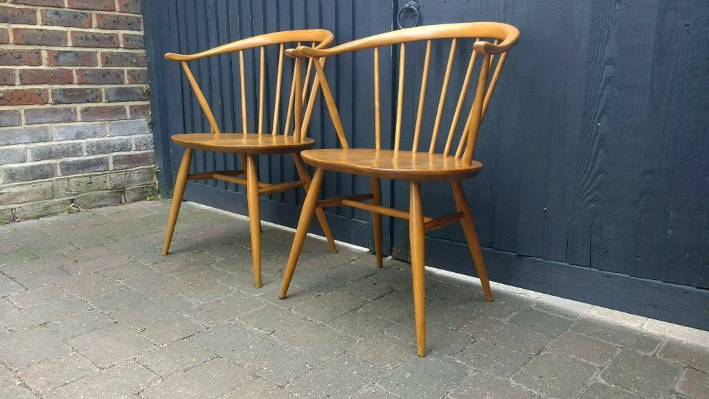2 Ercol Cowhorn Chairs Vintage Retro Mid Century Delivery