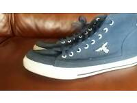 Mens casual canvas dark blue ankle boots with zip