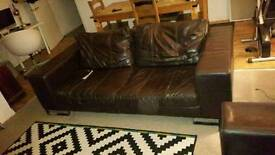 3 piece Sofa Brown Leather sofa in need of small repairs must go