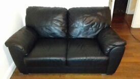 Two Black Leather Sofas, 2 Seater and 3 Seater Good Condition
