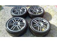 "4x100 18"" team dynamics alloys 215/35/18 with 2 new tyres"