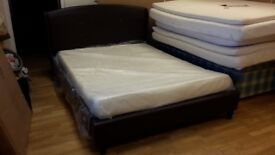 NEW, unused. 5ft king size brown leather finish bed frame bedstead