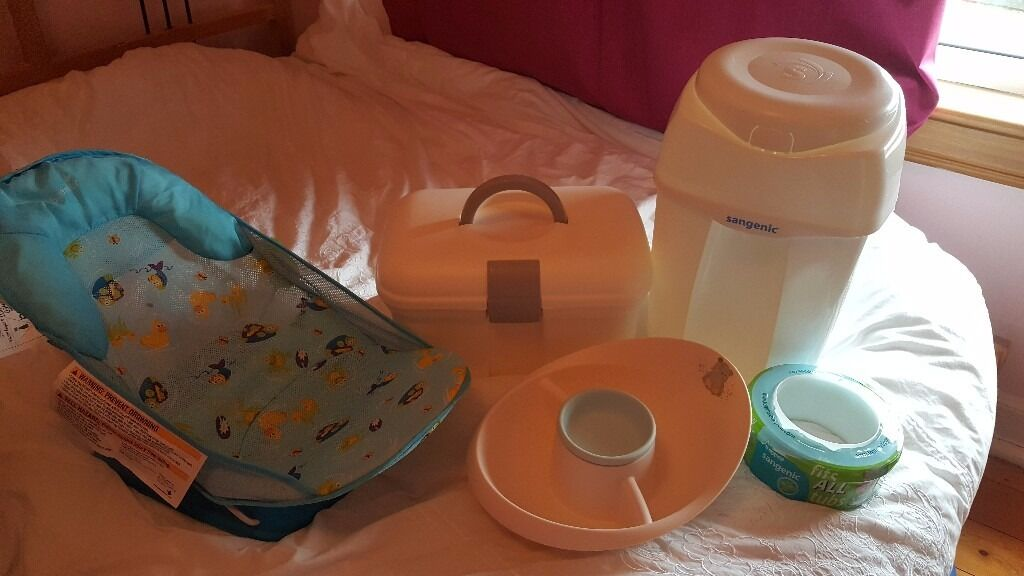 Baby nappy bin, changing accessory case and water tray and bath seat ...