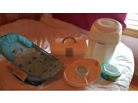 Baby nappy bin, changing accessory case and water tray and bath seat- £10