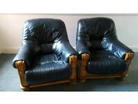 Leather and wood chairs