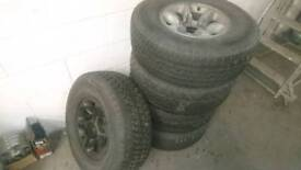 Set of 5 mitsubshi Jap fitment 4x4 wheels and tyres
