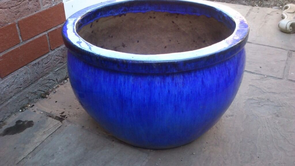 Very large blue glazed ceramic plant pot in altrincham manchester very large blue glazed ceramic plant pot workwithnaturefo