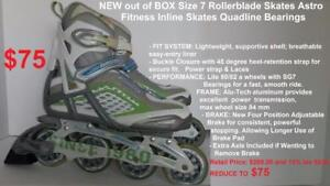 NEW out of BOX Size 7 Rollerblade Skates Astro Fitness Inline Skates Quadline Bearings