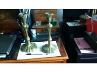 Apair of coal lined (victorian?) candlesticks in brass coloured metal
