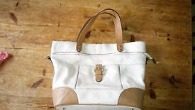 M&S Autograph leather handbag. Cream and tan, with detachable shoulder strap. Used only twice.