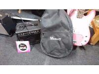 FULL BASS GUITAR SET UP WESLEY BASS + GIG BAG 15 WATT BASS AMP LEAD +STRINGS SOUNDS FAB ALL VGC