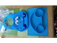 New Love Eat Kids Placemat & Divided Suction Plate + Silicone Bib   Toddlers