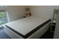 IKEA MALM double bed frame with MORGEDAL foam mattress and 4 storage boxes (White)