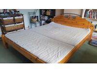 King size wood Bed with Mattress and two night stands / cabinets