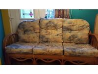 3 seater solid cane couch