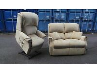 HSL DUAL RISE & RECLINE ARMCHAIR AND MATCHING 2 SEATER SETTEE