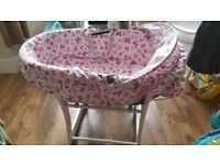 Baby girls butterfly moses basket