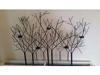 Large black metal treeline wall art / tealight holder