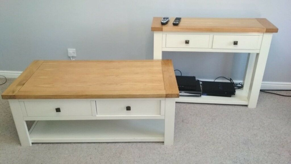Cream And Oak Coffee Table And Sideboard In Dewsbury