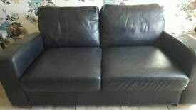 2 Seater Black leather double Sofa-bed from NEXT Home