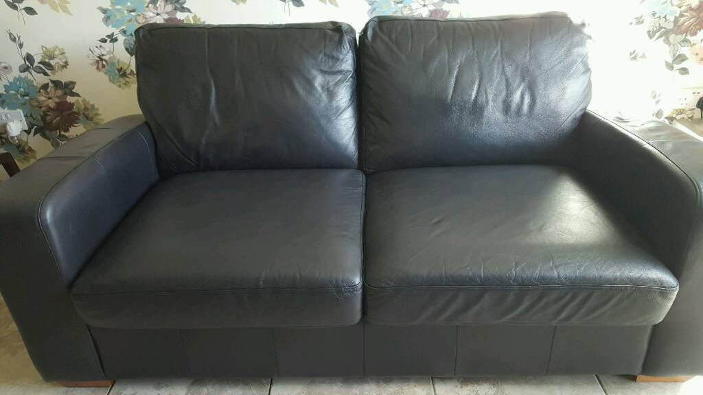 2 Seater Black Leather Double Sofa Bed From Next Home