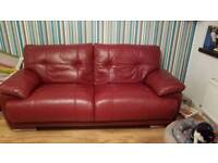 Red Leather 4 seater settee