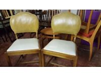 Two Vintage Cream and Yellow Dining Chairs In Good Condition