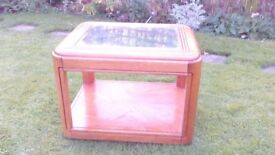 Modern Yew Coloured Wooden Coffee Table With Glass Inlay For Sale
