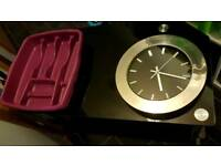 Tv unit, wall clock, cutlery tray