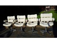 Retro barber-style swivel/dining chairs. Set of four. Cream.