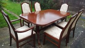 G PLAN DINING ROOM TABLE AND CHAIRS. RARE QUALITY ITEM