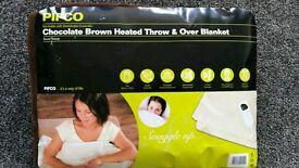 Brown fleece heated throw and over blanket NEW